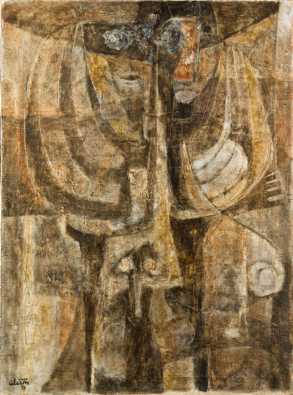 This work by Charles Alston shows shapes inspired by African masks in a muted palette