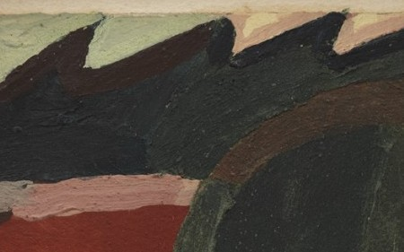 This work is an abstract composition by Arthur Dove in green and red tones