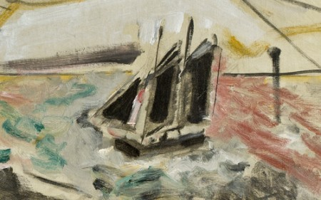 This work by John Marin depicts boats at sea