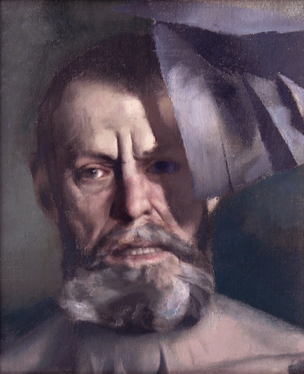 Detail of a painting by Edwin Dickinson, in which he presents himself as though a shingle is blowing across his face in high wind