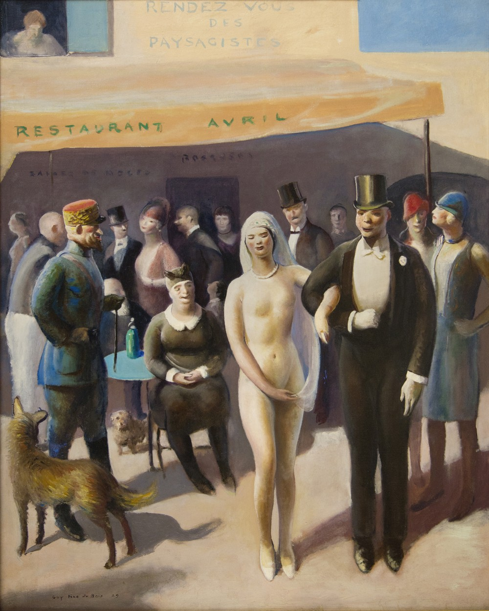 The detail shows guests enjoying a wedding celebration, in which the bride appears naked