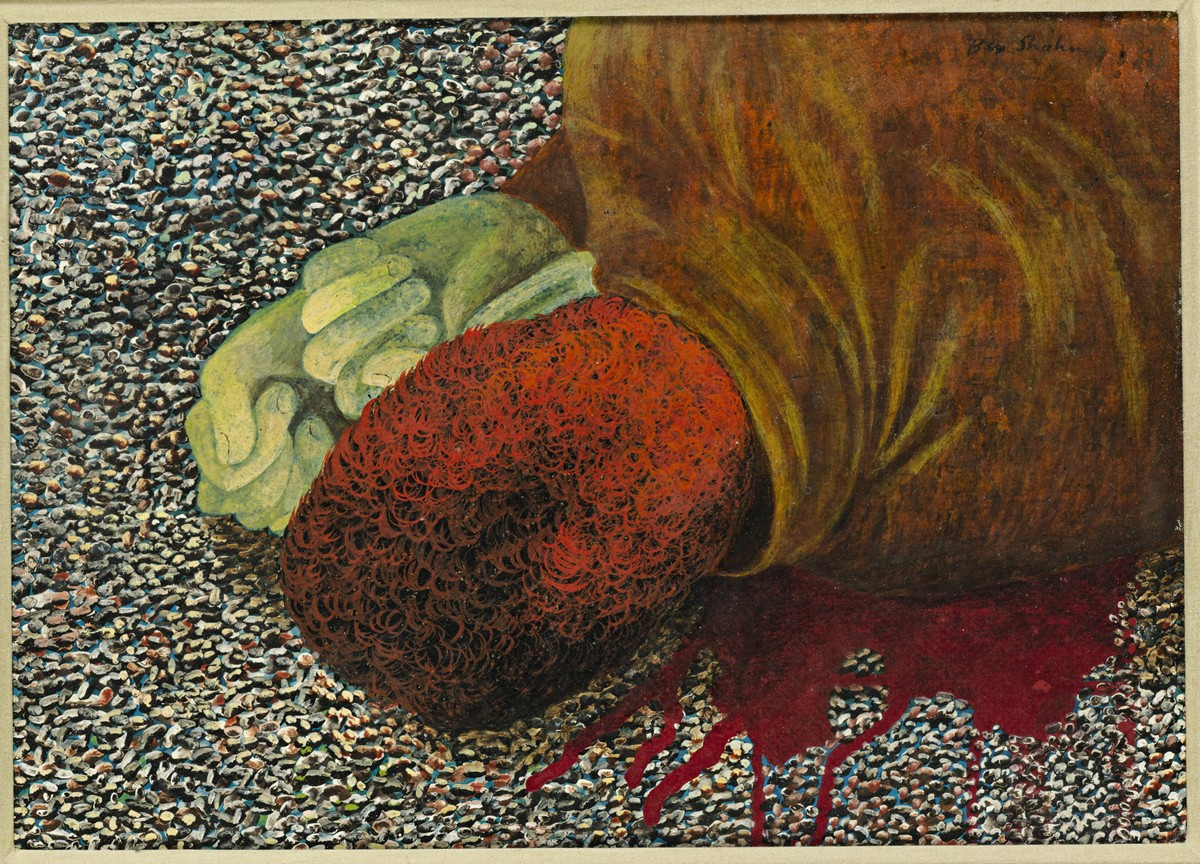 This work by Ben Shahn depicts the back of a bloody head
