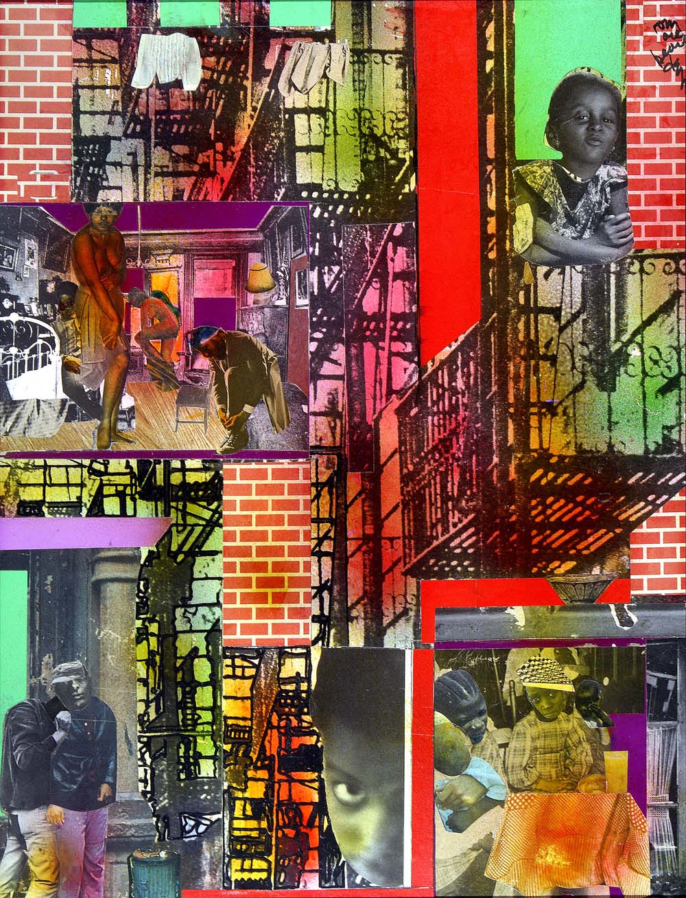 The colorful collage by Romare Bearden depicts a brick wall and little scenes as if the viewer is peering into the windows of an apartment building.