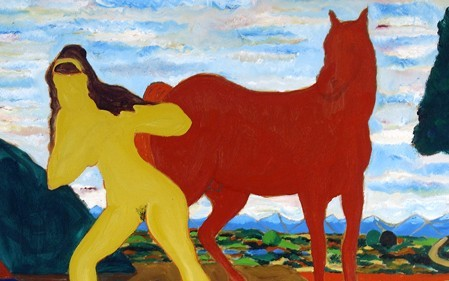 This colorful work by Bob Thompson depicts figures of women and horses in blue, red and yellow