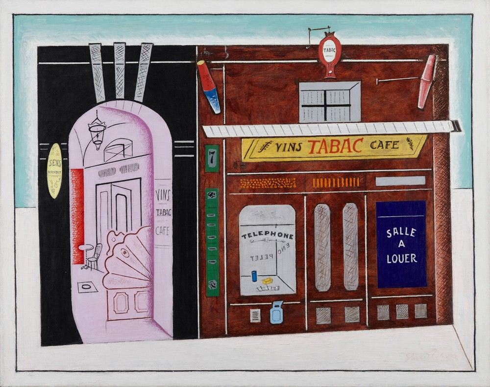This work by Stuart Davis depicts a cafe facade in Paris with bold colors, lines and shapes