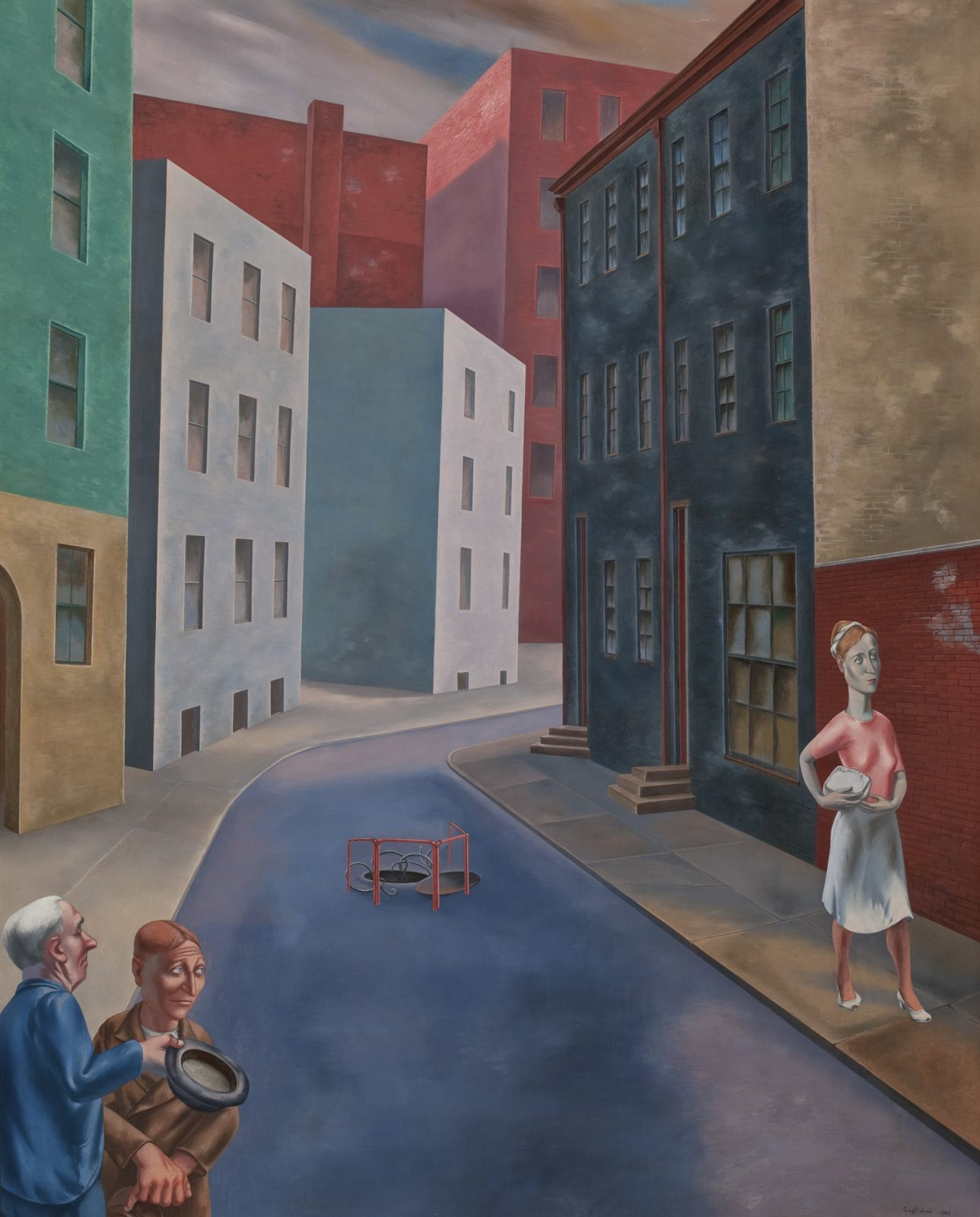 This work by O. Louis Guglielmi depicts two men and a woman in a street