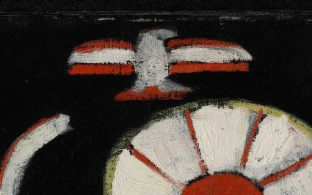 In this abstract work, Marsden Hartley depicts a bird over linear and circular, colorful shapes