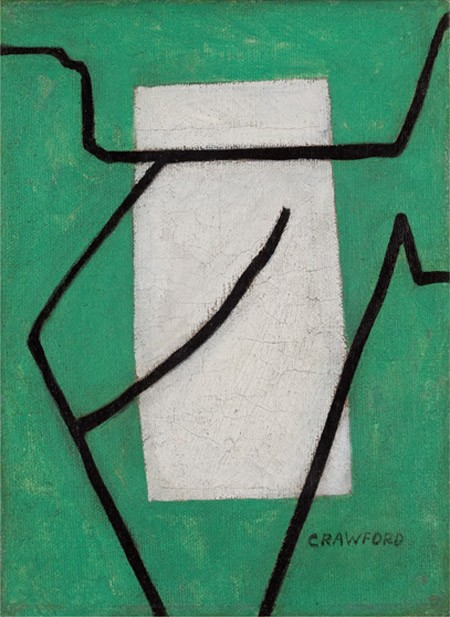 This work by Ralston Crawford shows black lines over a white rectangle and a green background