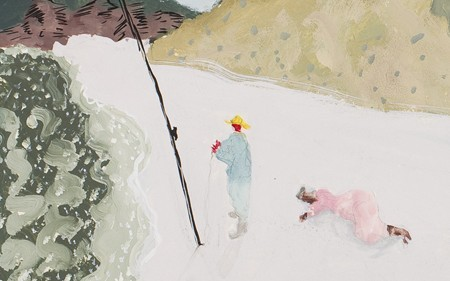 This work by Milton Avery depicts a man fishing and a woman on the floor in front of a hill