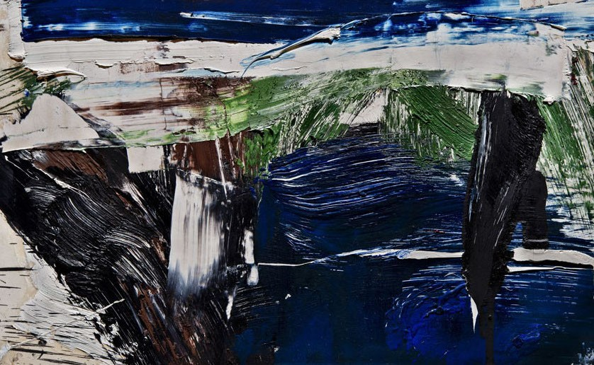 This work by Michael Goldberg is an abstract composition in blue, green and white