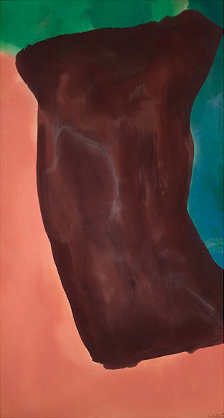 This work by Hellen Frankenthaler is an abstract composition in green, blue, pink and dark red