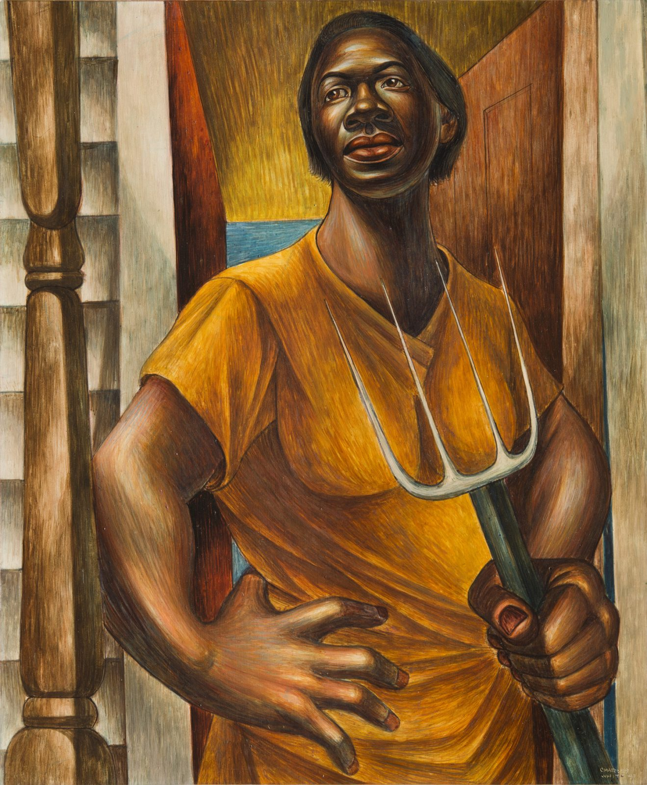 This work by Charles Whites shows a sharecropper woman standing on the threshold of her house looking out