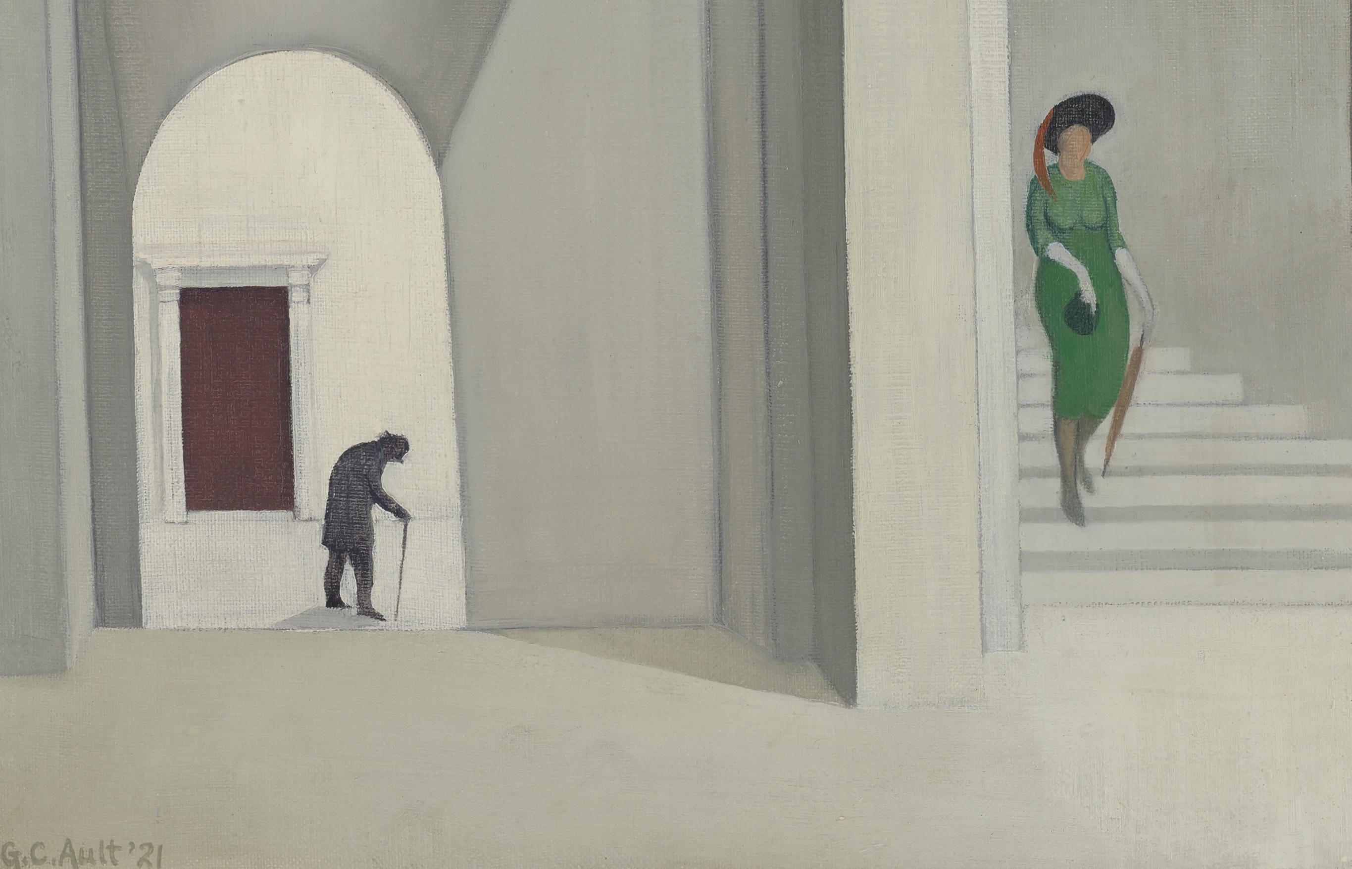 Detail of George Ault's painting of a woman in the green dress walking down a white stairway.