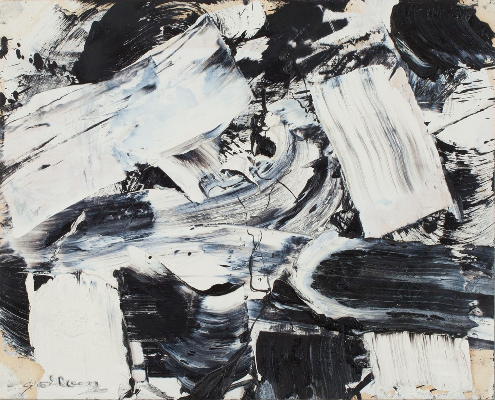 This work by Michale Goldberg is an abstract composition in a black, white, and dark blue palette
