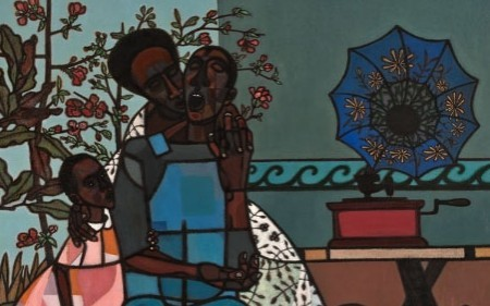 This work by Robert Gwathmey depicts parents and a little girl singing next to a tree and a gramophone