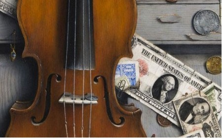 This work by Otis Kaye depicts a violin and dollar bills on a grey door