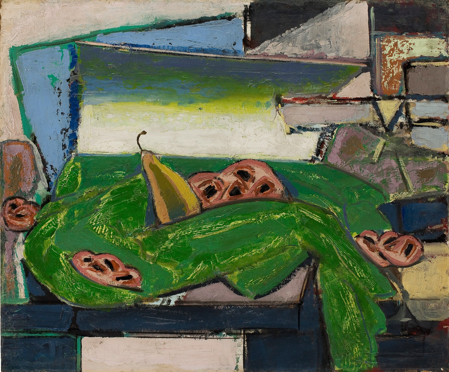 This work by Alfred Henry Maurer shows a cubist still-life with bright green and pears