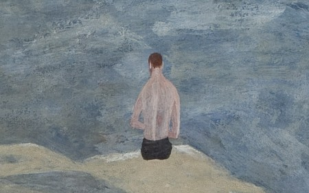 This work by Ben Shahn depicts the back of a topless man sitting on top of rocks