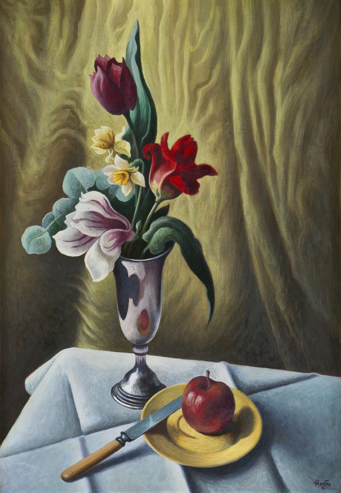 An apple, a knife and a plate are pictured in front of a vase with colorful flowers in this sill life by Thomas Hart Benton