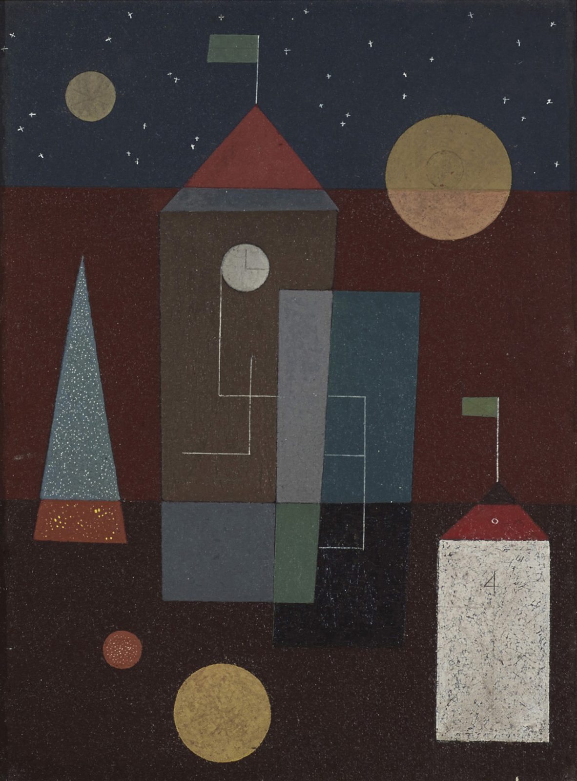 This work by Charles Green Shaw is an abstract cityscape below a dark blue night sky