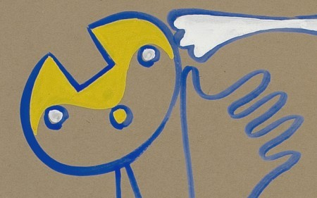 This work by Charles Biederman is an abstract composition in yellow, blue and white