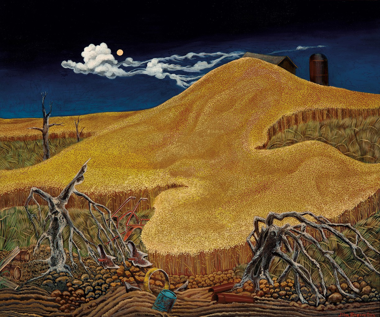 This work by John Rogers Cox depicts a field under a night sky