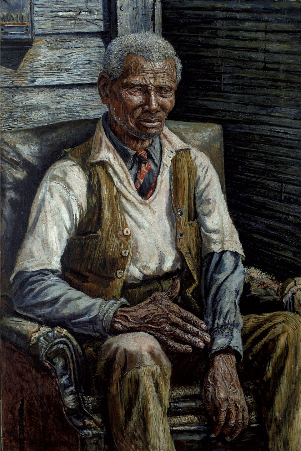 This work by Emerson Burkhart shows an old man seating