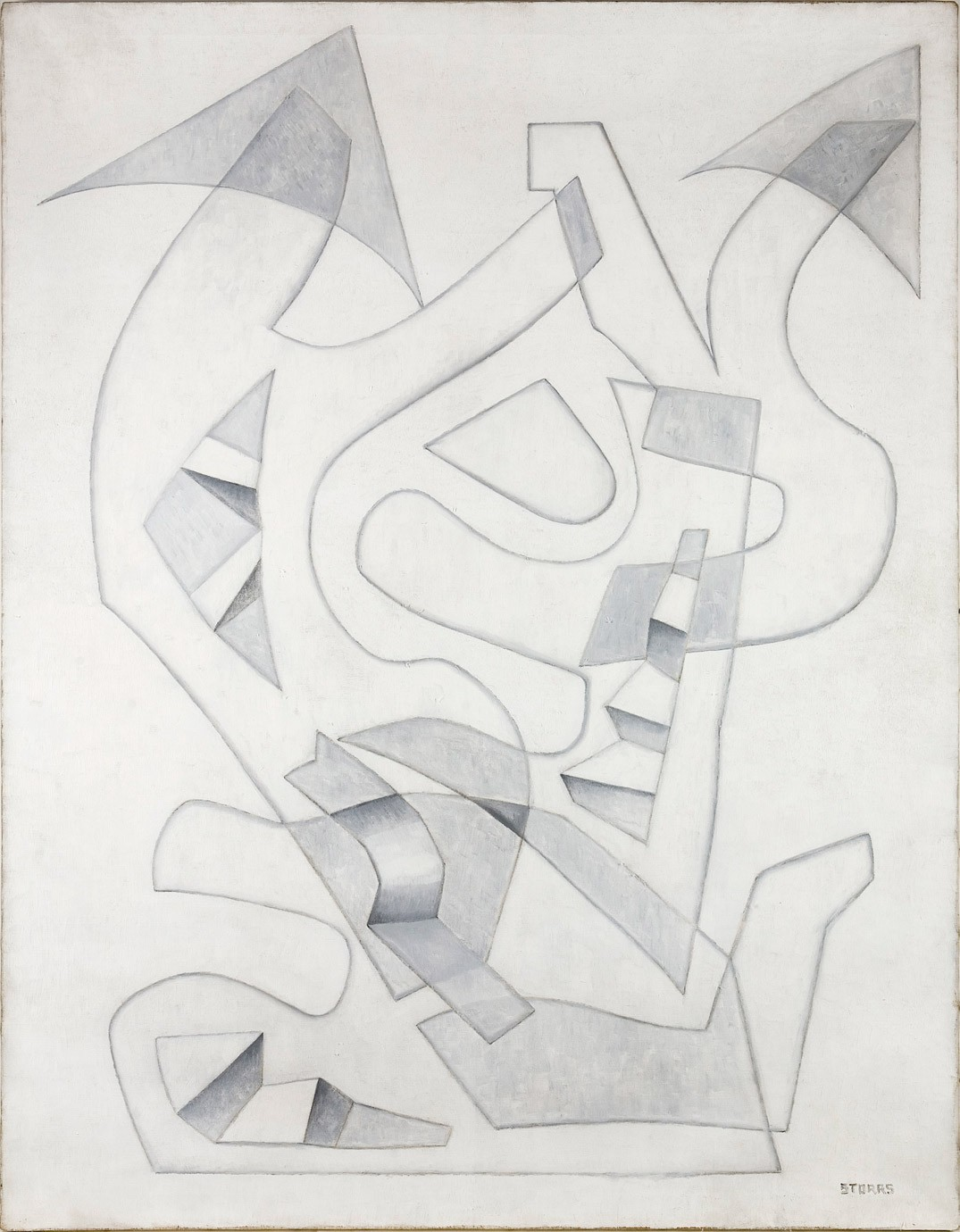 This work by John Bradley Storrs is a white and grey abstraction