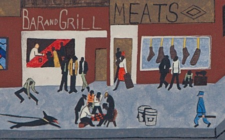 In this painting by Jacob Lawrence, a busy street corner of Harlem is depicted in grey and red tones.