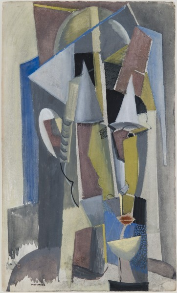 This cubist work by Max Weber uses a subdued palette of blues and grays along with mauves and yellows to construct a portrait.