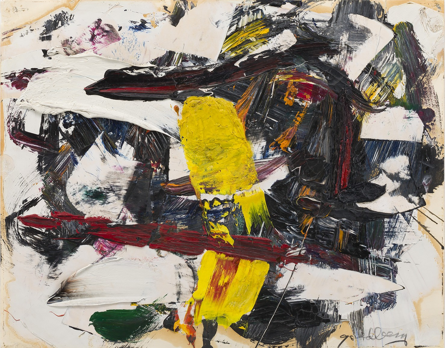 This work by Michael Goldberg is an abstract composition in yellow, red and white