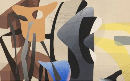 This work by Charles Howard depicts two-dimensional shapes set against sinuous, biomorphic imagery