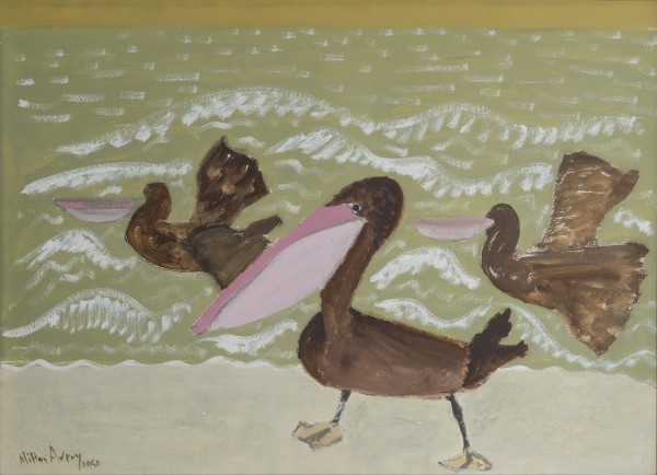 Two flying pelicans and one standing pelican are pictured on the beach in this work by Milton Avery