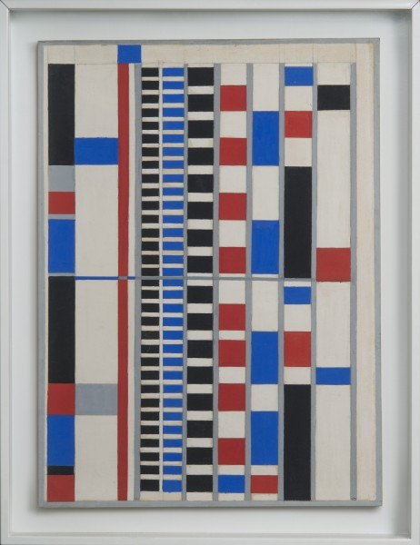 This blue, red, black and white work by Charmion Von Wiegand is a starkly geometric composition based on the grid designs of Mondrian