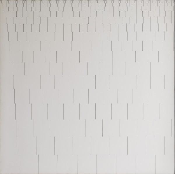 In this abstract work by Francois Morellet, the length of the dashes and the space between each marking is increased