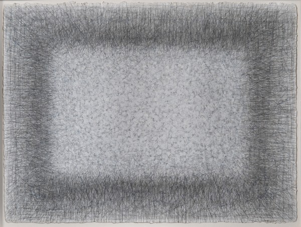 This work by Richard Pousette-Dart is on paper using short, expressive lines in graphite and white paint.