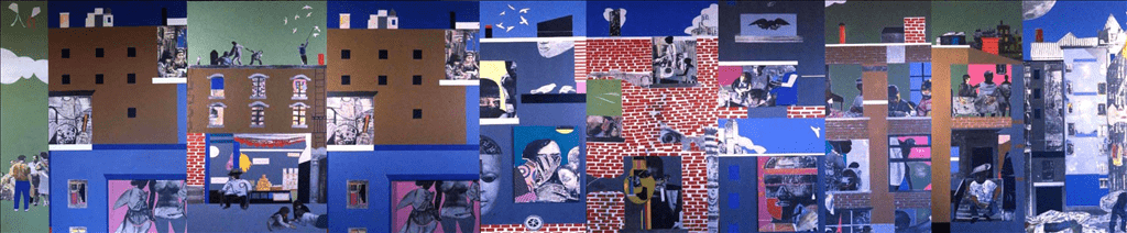 Collage mural by Romare Bearden depicting scenes from Harlem