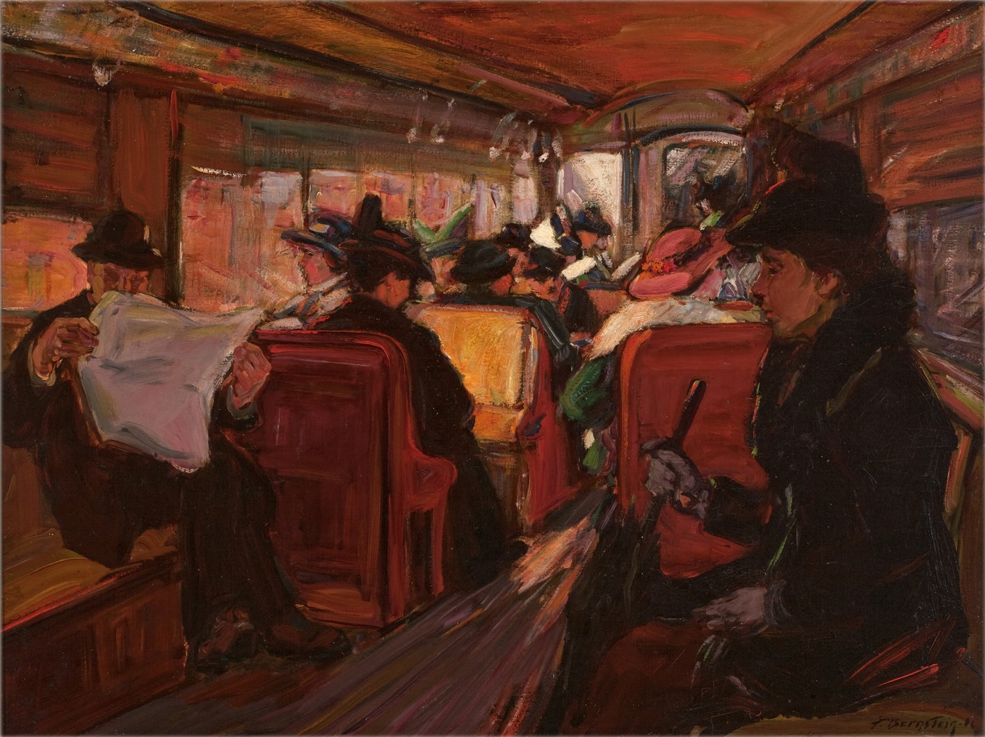 This work by Theresa F. Bernstein depicts passengers in an elevated train