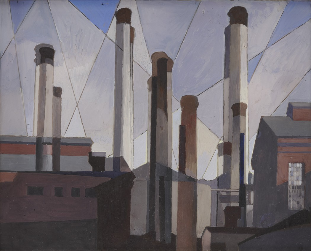 This work by Charles Sheeler shows several chimneys