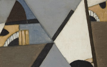 In this work by George L. K. Morris, geometric planes are overlaid on fragmented, abstracted faces and helmets, black lines suggesting rifles, and a wedge of the American flag.