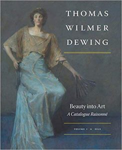 Cover of Thomas Wilmer Dewing Catalogue Raisonne featuring a well dressed woman with a fan