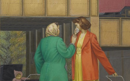 This work by Henry Koerner depicts two women with kids under a train overpass
