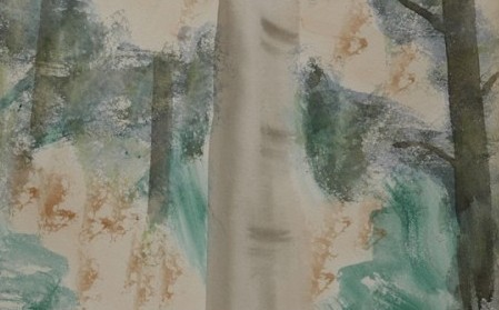 Detail of a green and yellow work by Milton Avery with alternating strokes of translucent and opaque watercolor