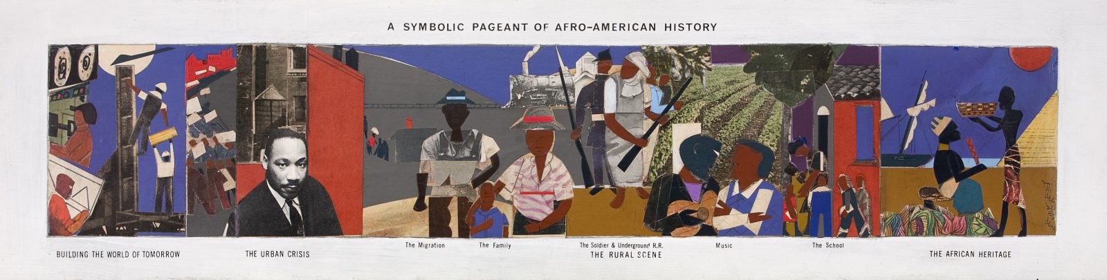 This work by Romare Bearden condenses centuries of history onto a small panel with several scenes and characters
