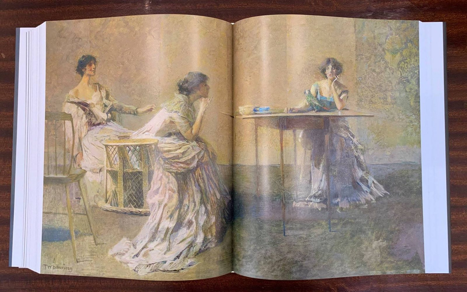 A picture of an inside fold of the new Thomas Dewing catalogue raisonne