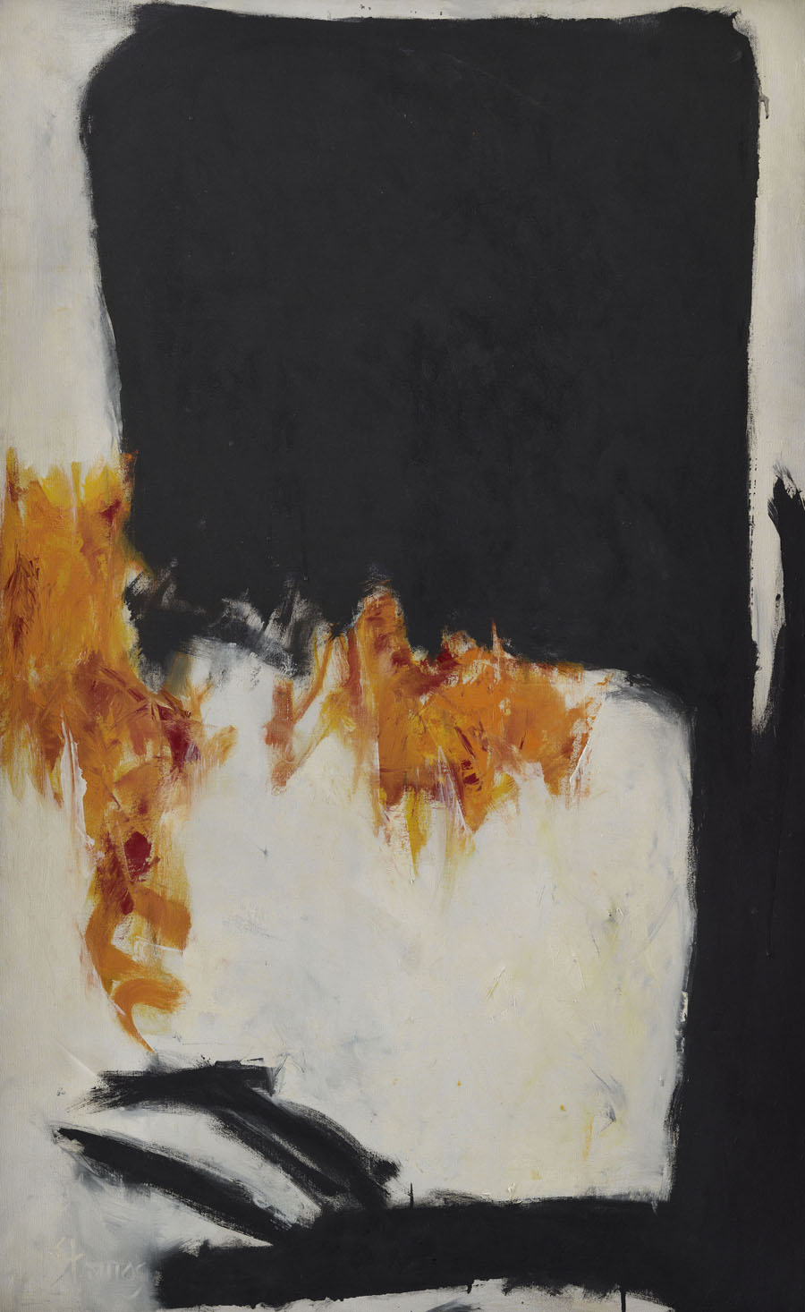 This work by Theodoros Stamos is an abstract composition in orange, white and black