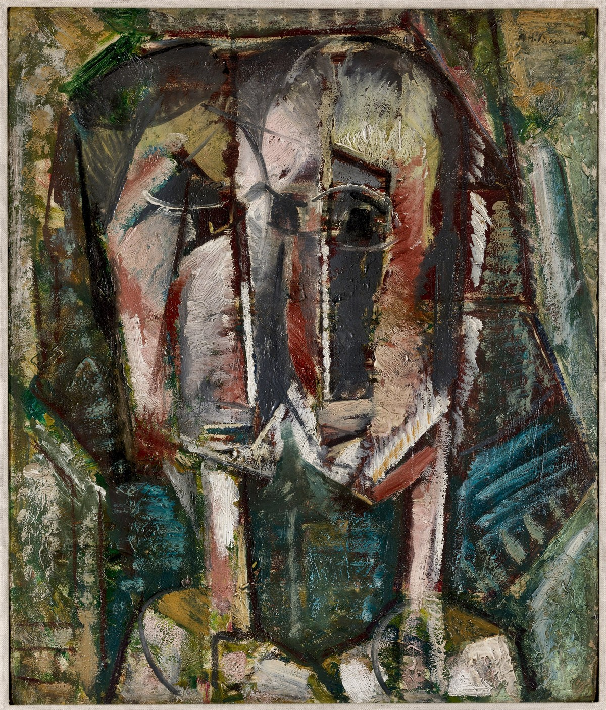 In a dark palette, Alfred Henry Maurer renders two heads in exaggerated proportions