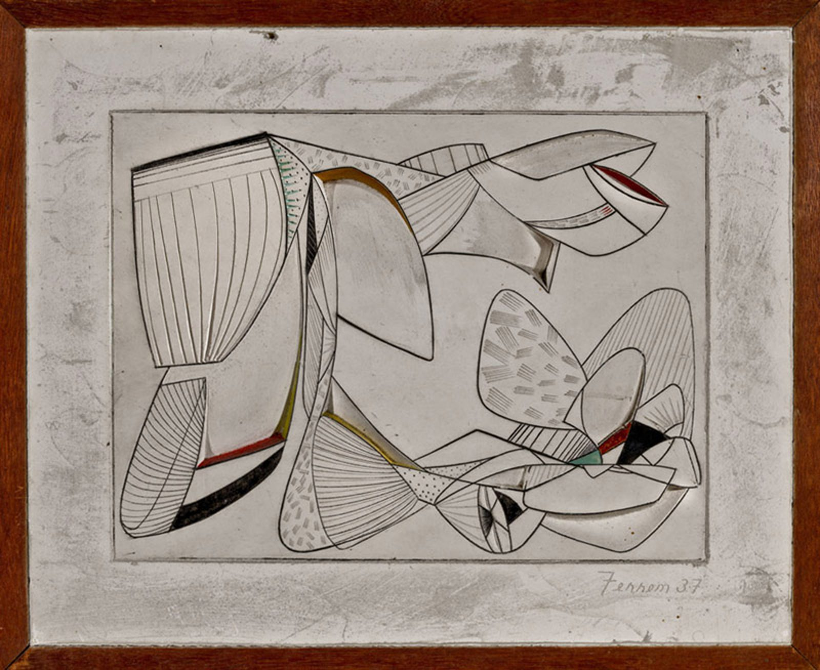 This work by John Ferren is an abstract composition in white tones