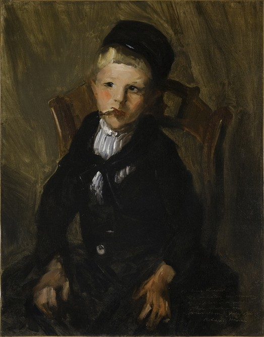 This work by Charles Henri shows a child sitting on a chair, with a cigarette in his mouth