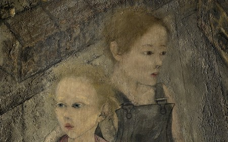 This work by Philip Evergood depicts two children and one of them is holding a toy